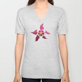 Single pink columbine flower bloom Unisex V-Neck
