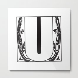 Northwest Pacific Coast American Native Totem White Letter U Metal Print