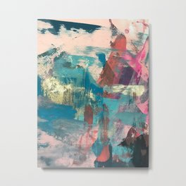 Sugar Rush [2]: a colorful, abstract mixed media piece in pinks, blues, and gold Metal Print