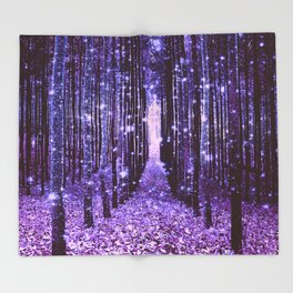Magical Forest Purple Throw Blanket
