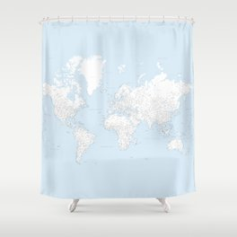 World map, highly detailed in light blue and white, square Shower Curtain