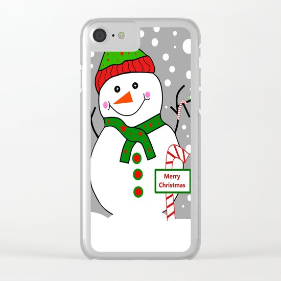 Merry Christmas Snowman Clear iPhone Case