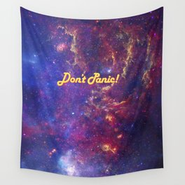 Don't Panic! in Friendly Yellow Wall Tapestry