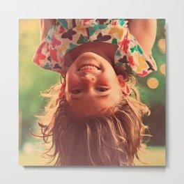 Girl Upside Down Smiling Child Kids Play Metal Print