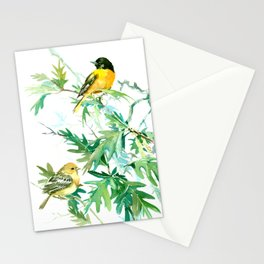 Baltimore Oriole Birds and White Oak Tree Stationery Cards