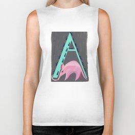 A is for Aardvark Letter Alphabet Decor Design Art Pattern Biker Tank