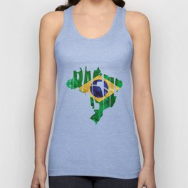 Brasil Typographic World Map / Brasil Typography Flag Map Art Unisex Tank Top