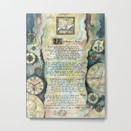 "Calligraphy of the poem ""IF"" by Rudyard Kipling Metal Print"