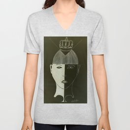 Puzzle of the mad hatter Unisex V-Neck