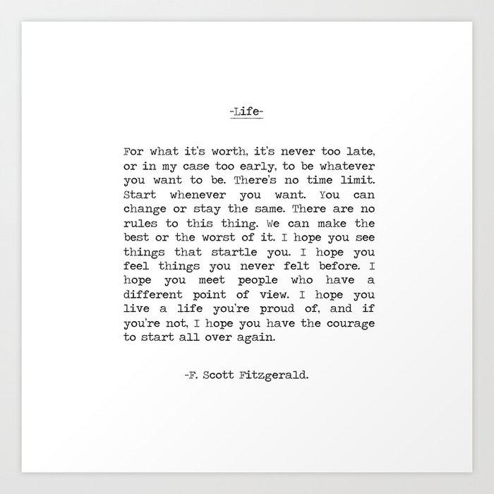 Life quote F. Scott Fitzgerald Art Print