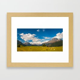 Beautiful Pastoral Alpine Landscape in New Zealand Framed Art Print