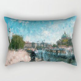 Riverside, Berlin Mitte Painting /  impressionism style Illustration  / abstract landmarks drawing Rectangular Pillow