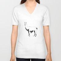 llama V-neck T-shirts featuring Llama by George Williams