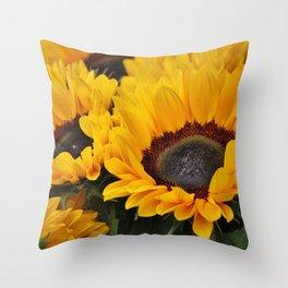 Golden Sunflowers Throw Pillow