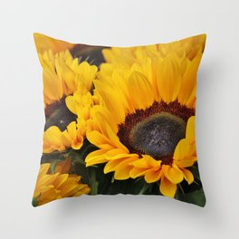 Golden Sunflowers Throw Pillow