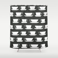 Pattern of Coffee and Tea Cups Shower Curtain