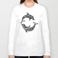 dolphins Long Sleeve T-shirts featuring Dolphins by Emma Barker