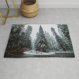 Forest Snow Storm Rug