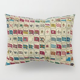 Vintage Naval Flags of The World Illustration Pillow Sham