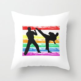 The Fighter's Sparring Tshirt Design Silhouettes sparring light Throw Pillow