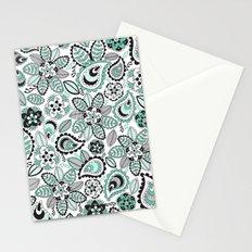Aqua Paisley Stationery Cards