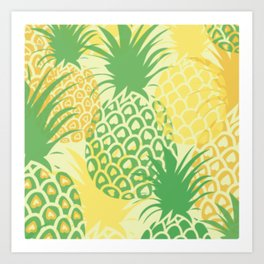 Yellow and Green Pineapple Pattern Tropical Art Print