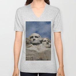 George Washington And Thomas Jefferson  - Mount Rushmore Unisex V-Neck