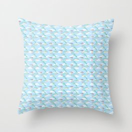 Rainbow Hummingbirds Hovering in a Cloudy Sky Throw Pillow