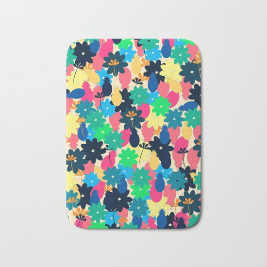 Flowers and pineapples Bath Mat