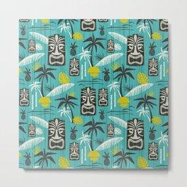 Island Tiki Aqua Metal Print