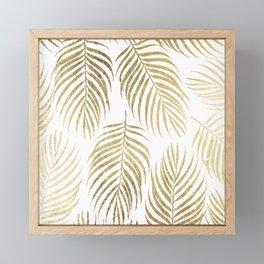 Elegant tropical faux gold foil palm tree floral Framed Mini Art Print