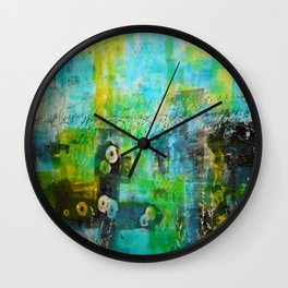 Abstract Blue in the Breeze Wall Clock