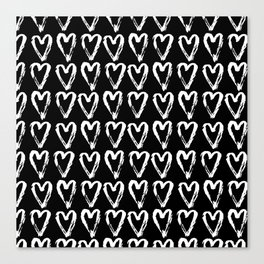Black & White-Love Heart Pattern- Mix & Match with Simplicty of life Canvas Print