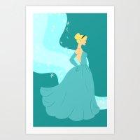 cinderella Art Prints featuring Cinderella by Eva Duplan Illustrations