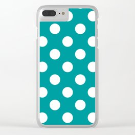 Viridian green - green - White Polka Dots - Pois Pattern Clear iPhone Case