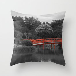 The Red Bridge (Higher Contrast) Throw Pillow