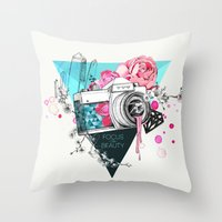 kpop Throw Pillows featuring Focus on beauty by Ariana Perez