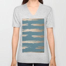 Abstract Painted Stripes Gold Tropical Ocean Blue Unisex V-Neck