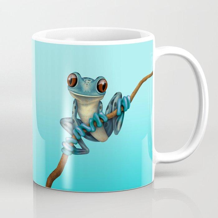 Cute Blue Tree Frog on a Branch Coffee Mug