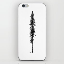 Love in the forest - a couple and their dog under a solitary, towering Douglas Fir tree iPhone Skin