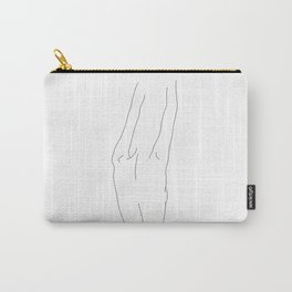 Minimal line drawing of woman's back - Ava Carry-All Pouch