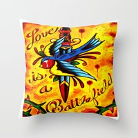 battlefield Throw Pillows featuring Love Is A Battlefield by ARMADA Industries