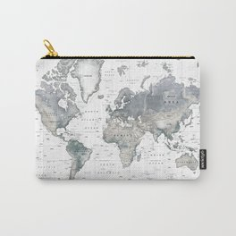The World [Black and White Relief Map] Carry-All Pouch