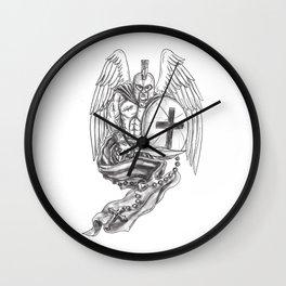 Spartan Warrior Angel Shield Rosary Tattoo Wall Clock