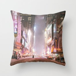 New York City Colorful Snowy Night in Times Square Throw Pillow