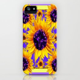 Lilac Purple Patterns Yellow Sunflowers Fantasy Art iPhone Case