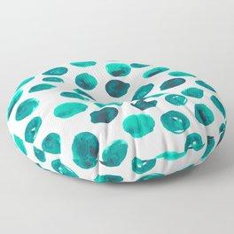 Esme - painted brushstroke emerald jade mint dots polka dots pattern design  Floor Pillow