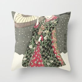 Snow - Japanese Color Woodblock Print Throw Pillow