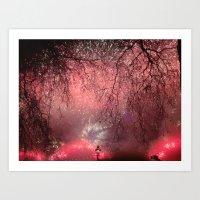 Red Firework Rain Art Print