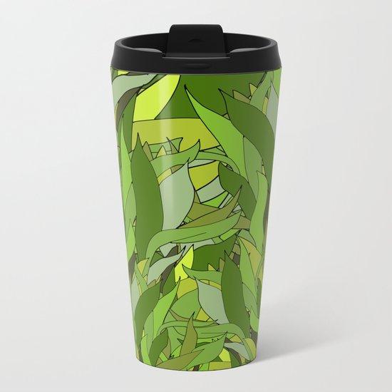 Green Bamboo Leaves Metal Travel Mug